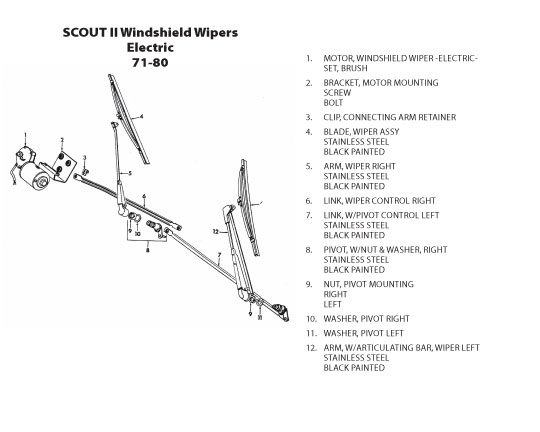 scout connection cab bodies front sheet metal page windshield wipers electric