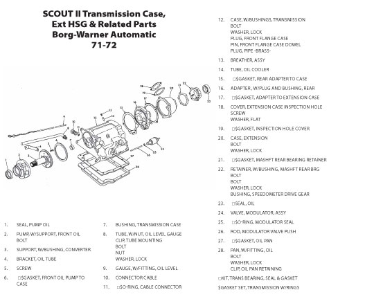 scout connection clutch transmission propeller shafts page Connecting Rod Parts Names transmission case exterior housing related parts
