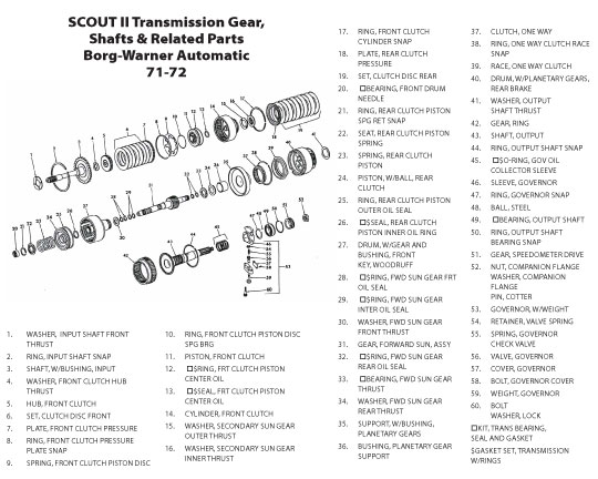 scout connection clutch transmission propeller shafts page Automatic Trans Parts transmission gears shafts related parts